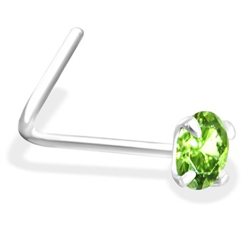 L-Shaped Silver Nose Pin with  Peridot CZ