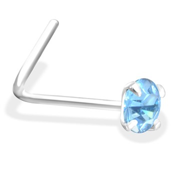 L-Shaped Silver Nose Pin with Light Blue CZ