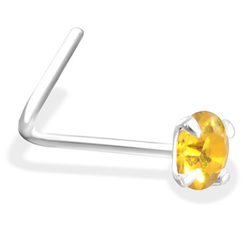 L-Shaped Silver Nose Pin with Citron CZ