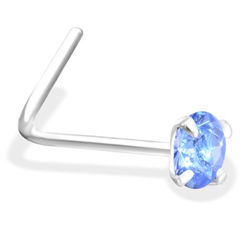 L-Shaped Silver Nose Pin with Aquamarine  CZ