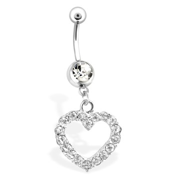 Dangling Gemmed Heart Belly Ring, 16 Ga