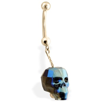 14K Yellow Gold Belly Ring with Dangling Rainbow Skull