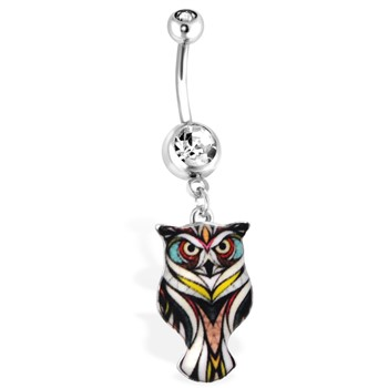Black Owl Navel Ring, 14 Ga