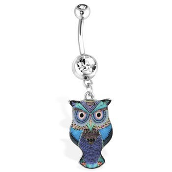Blue Owl Navel Ring With Aztec Design, 14Ga
