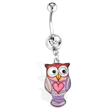 Purple Owl Navel Ring with Heart, 14Ga