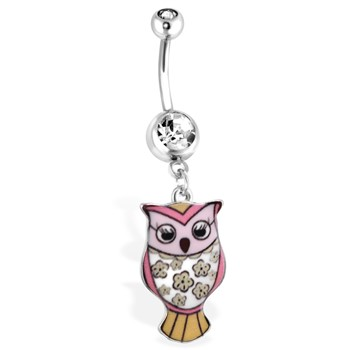 Pink Owl Navel Ring With Floral Pattern,14 Ga