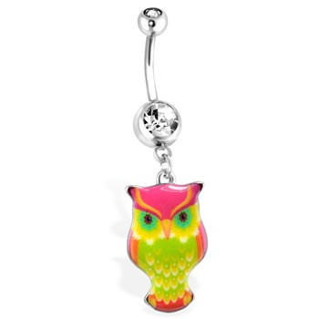Pink/Green Owl Navel Ring, 14 Ga