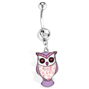 Purple Owl Navel Ring with Floral Pattern, 14Ga