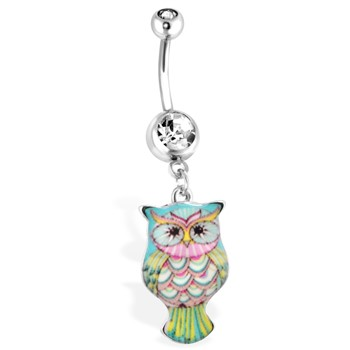 Teal Owl Navel Ring With Pink Accent, 14 Ga