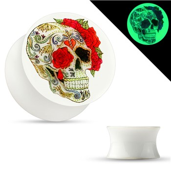 Pair Of Glow In The Dark Sugar Skull Plugs