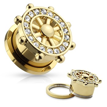 CZ Paved Yacht Wheel Top Gold IP Over 316L Surgical Steel Screw Fit Flesh Tunnels; PAIR