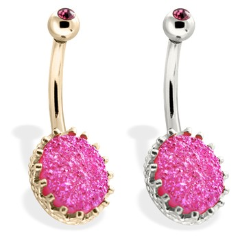 14K Gold Belly Ring With Pink Druzy And Pink Gem Ball