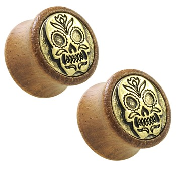 Antique Gold Plated Sugar Skull Shield Front Organic Sono Wood Saddle Plugs