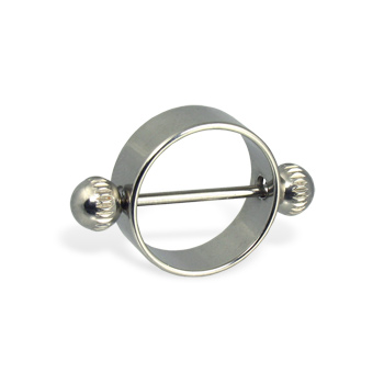 Nipple ring with notched balls, 16 ga
