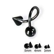 Black twister with ball and cone, 16 ga