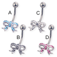 Jeweled bow belly button ring