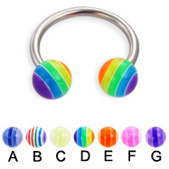 Circular barbell with acrylic layered balls, 14 ga