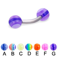 Curved Barbell with Acrylic Layered Balls, 12 Ga