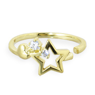 10K real gold star toe ring with tiny gems