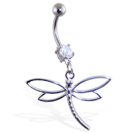 Navel ring with dangling steel dragonfly with hollow wings