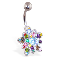 Small Multicolor Jeweled Flower Belly Button Ring