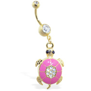 Gold Tone navel ring with dangling pink jeweled turtle