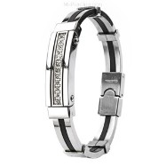 316L Stainless Steel & Rubber Bracelet/ Gems