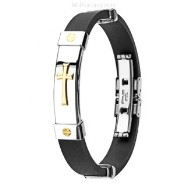 316L Stainless Steel & Rubber Bracelet/Gold Tone Cross