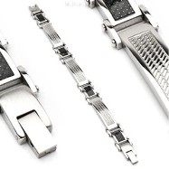 316L Stainless Steel Bracelet/ White Carbon Fiber