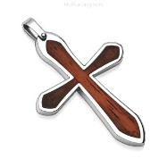 316L Stainless Steel Pendant. Brown Cross