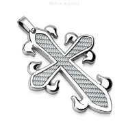316L Stainless Steel Pendant. White Carbon Fiber Celtic Cross.