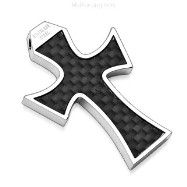 316L Stainless Steel Pendant. Black Carbon Fiber Cross.