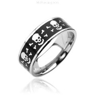 316L Surgical Stainless Steel Rings. Black with Laser Engraved Skull with bones