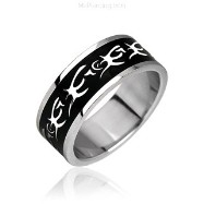 Surgical Steel Tribal Black Plating Ring.