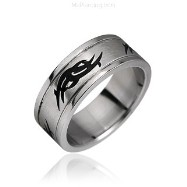 Surgical Steel Black Tribal Symbol Ring