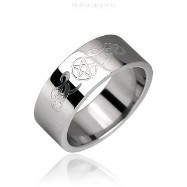 Surgical Steel Ring with Tribal Symbol + Star