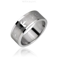 Surgical Steel Ring with Pot Leaf