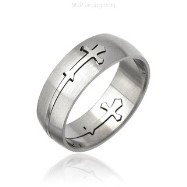 Mens 316L Cross Carved Surgical Steel Ring