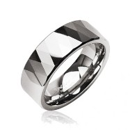 Tungsten carbine ring with multi-faced prism design