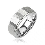 Tungsten carbine ring with multi-faced honey comb design