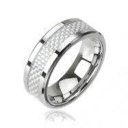Tungsten carbine ring with carbine fiber inlay