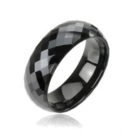 Black multi-faced prism tungsten carbine ring