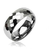 Tungsten carbine ring with honey comb multi-faced design