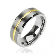 Tungsten carbine ring with gold striped center