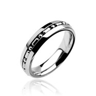 316L Stainless Steel Ring. Small Chain Centered Band