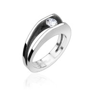 316L Stainless Steel Ring with 5mm Cubic Zirconia