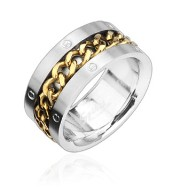 316L Stainless Steel Ring with Gold Spinning Chain Center