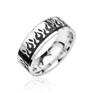 316L Stainless Steel 2 Tone with Black Flame Ring