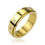 316L Stainless Steel Gold IP Roman Numerals Center Spinner Ring