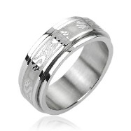 316L Stainless Steel Double Dragon Center Spinner Ring
